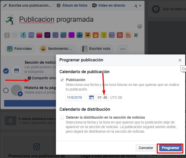 Programar publicaciones en facebook