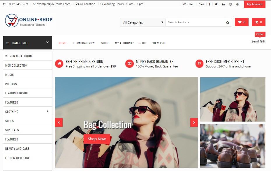 Plantilla online shop wordpress