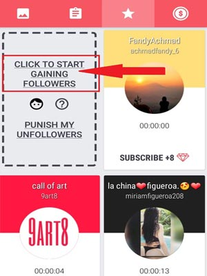 Clic en star gaining follower