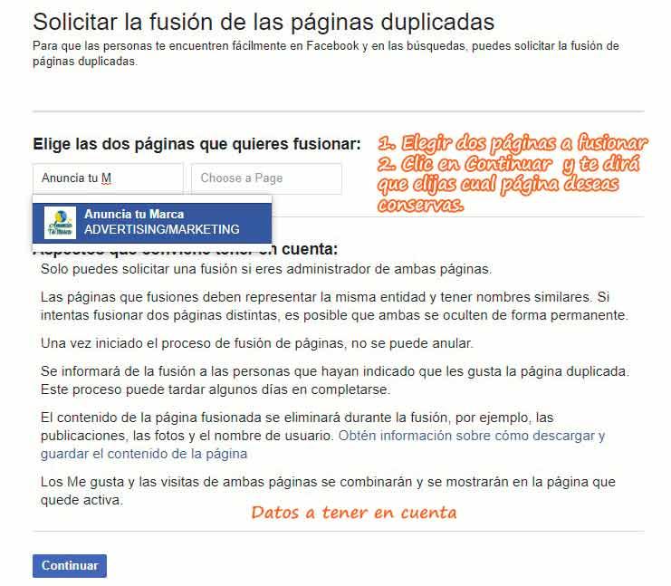 solicitar la fusion de paginas de facebook duplicadas